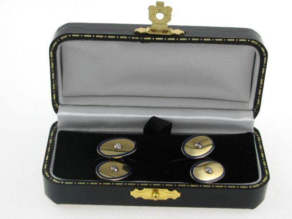 Gents 18k Gold Enamel Diamond Cufflinks