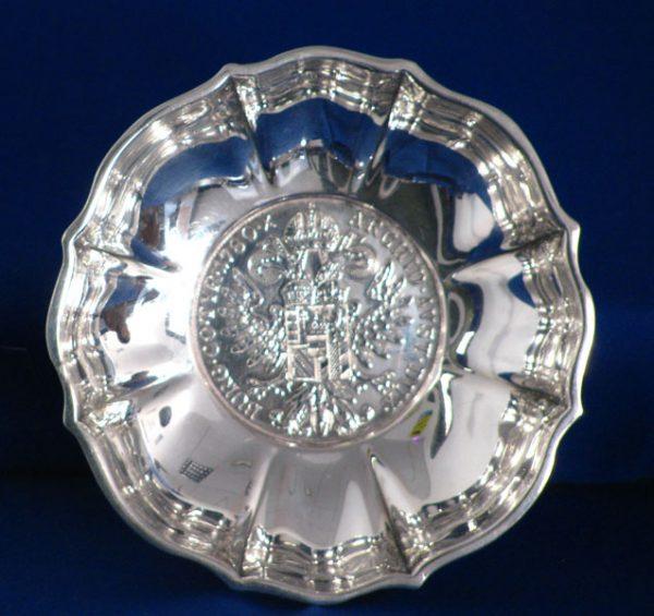 Silver Bon Bon Dish With Maria Theresa Thaler Coin