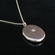 Oval Rose Gold Starburst Locket with Diamond