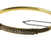 Antique 15k Gold  Bangle with Seed Pearls