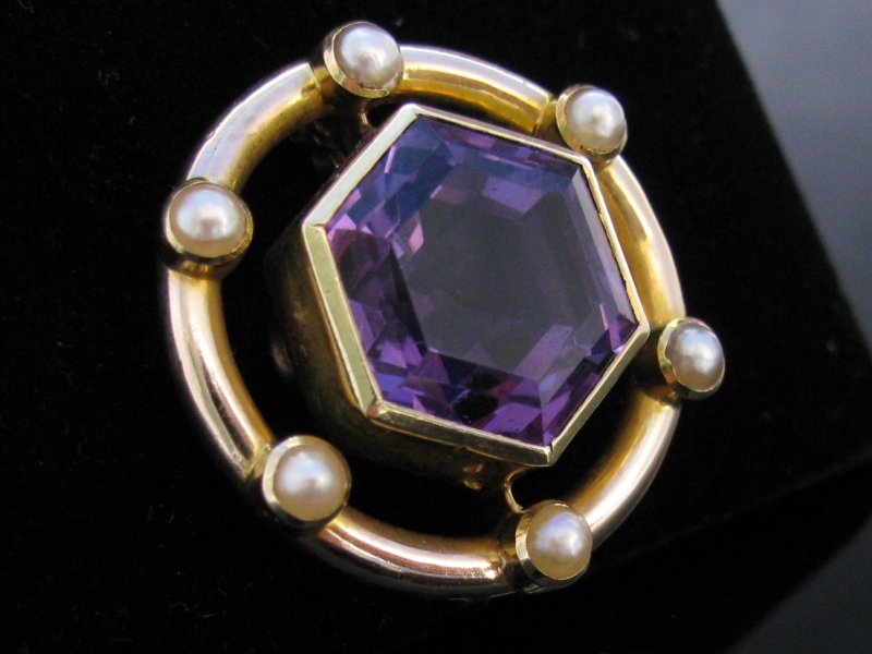 Edwardian Style Amethyst Pearl Brooch The Antiques Room