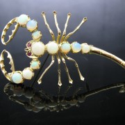 Scorpion Brooch with Opals and Rubies