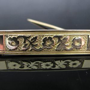 14k Gold Floral Bar Brooch