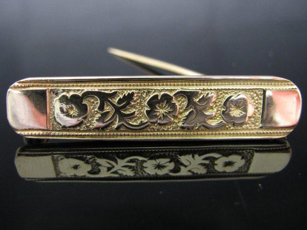 14k Gold Floral Bar Brooch