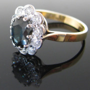 Diamond And Sapphire Cluster Ring 18k Golddiamond ring, jewellers, antique ring, jewellery shop, Galway