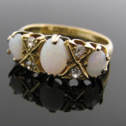 Antique Diamond and Opal Ring 18K Gold