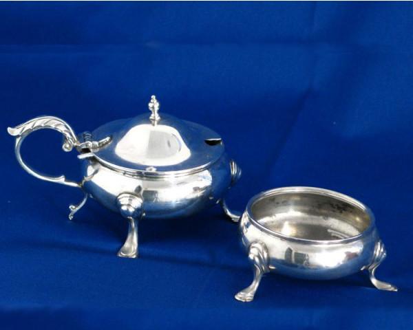 1920's Silver Mustard & Salt Pot Set