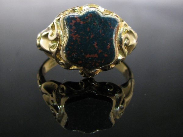Antique Bloodstone Signet Ring 18K