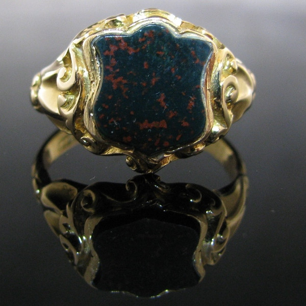 Antique Bloodstone Signet Ring 18K