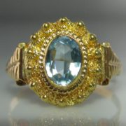 Aquamarine Ring in 22k Gold