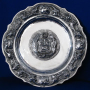 Silver Wall Plate With Coat of Arms