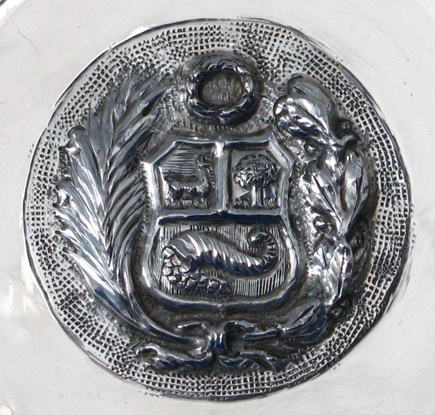 Silver Wall Plaque Plate With Peruvian Coat Of Arms The
