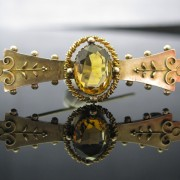 Victorian Citrine Bar Brooch