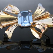 Retro Bow Brooch with Topaz 14k Gold