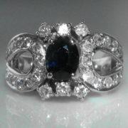 Sapphire/ Diamond 18k White Gold Ring
