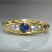 Diamond and Sapphire Ring in 18k Yellow Gold
