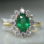 Emerald and Diamond Cluster Ring - 18k Gold