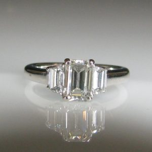 Three Stone Emerald Cut Diamond Ring, Engagement Ring, Galway