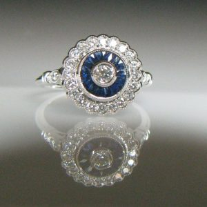 Sapphire and Diamond Target Ring, Galway, Ireland, The Antiques Room