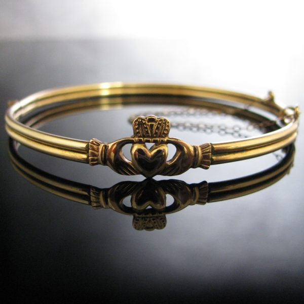 Rolled Gold Claddagh Bangle, Gold Bracelet, Bracelet, Bangle, Fine Jewellery, Jewellery Shop, Jewellers, Galway