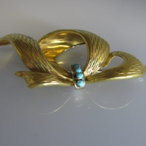 18k Gold Brooch Set With Turquoise, vintage jewellery, vintage brooch, Galway, West of Ireland