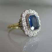 Sapphire and Diamond Cluster Ring, Ring, The Antiques Room, Jewellery, Galway, West of Ireland