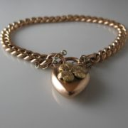 Rose Gold Bracelet With Shamrock Lock , gold bracelet, jewellery, Galway, Ireland, The Antiques Room