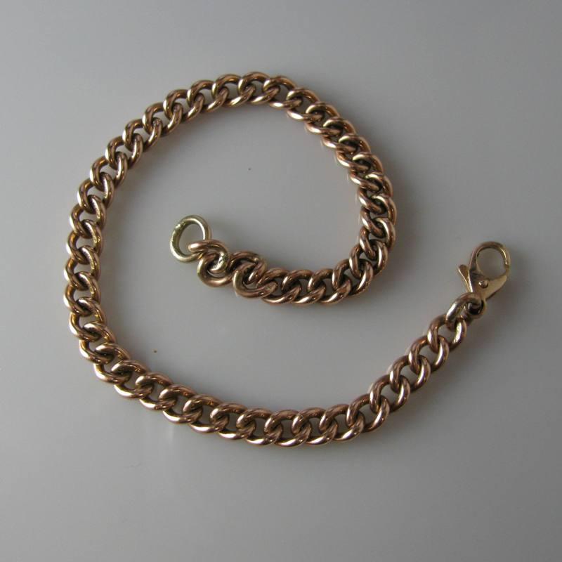 Rose Gold Curb Link Bracelet In 9k