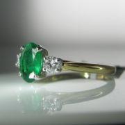 Three Stone Emerald and Diamond Ring, Emerald Ring, Fine Jewellery, Jewellery Shop, Jewellers, Galway