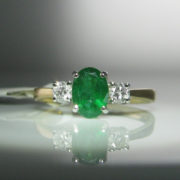 Emerald and Diamond Gold Ring, Jewellery, Galway, Ireland, The Antiques Room
