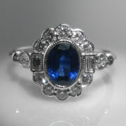 Oval Sapphire and Diamond Ring - 18k White Gold