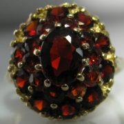 Vintage Garnet Cluster Ring 9k Gold