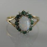 Vintage Opal, Emerald & Diamond Ring, Opal Ring, Opals, Ring, Jewellery, Jewellery Shop, Galway, Ireland