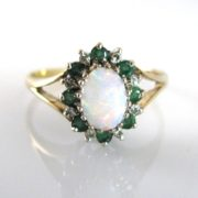 Vintage Opal, Emerald & Diamond Ring, Opal Ring, Opals, Ring, Jewellery, Jewellery Shop, Galway, Ireland