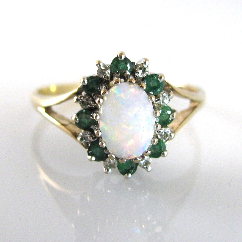 sold vintage opal emerald ring the antiques