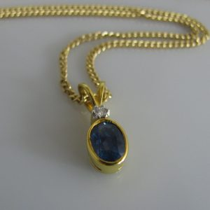 18k Sapphire and Diamond Pendant, Sapphire necklace, Fine Jewellery, Jewellery Shop, Jewellers, Galway