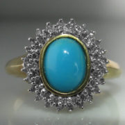 Diamond Ring With Turquoise Stone