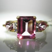10k Diamond And Pink Gemstone Ring