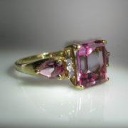 10k Diamond And Pink Gemstone Ring