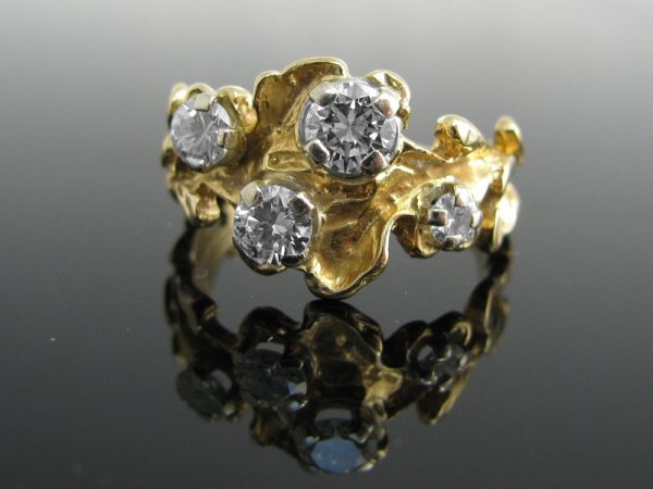 Diamond Handcrafted Ring 18k Gold, Diamond Ring, Gold Ring, Jewellery, Galway, Ireland, The Antiques Room
