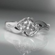 Solitaire Diamond Ring - 18k White Gold