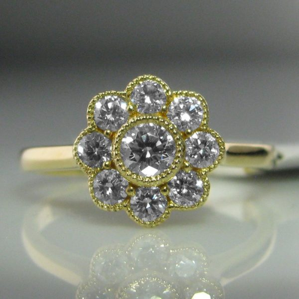 Diamond Daisy Ring, Gold and Diamond Ring, Diamond Engagement Ring