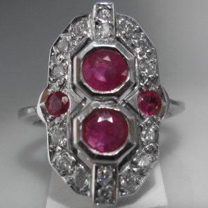 Art Deco Ruby Shield Ring 1481