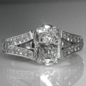 Three Carat Diamond Ring in Platinum (2.04ct Centre Stone GIA Cert)