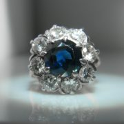 Sapphire & Diamond Cluster Ring ,Sapphire and Diamond Ring, Diamond Ring, Jewellery, Galway, Ireland, The Antiques Room