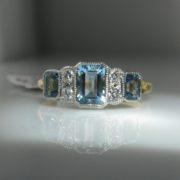 Aquamarine & Diamond Trilogy Ring, Jewellery, Galway, Ireland, The Antiques Room