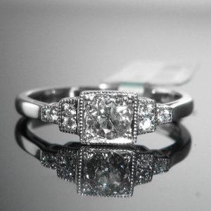 Old Cut Diamond Solitaire Ring - Platinum