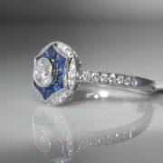 Ceylon Sapphire & Diamond Target Ring - 18k White Gold