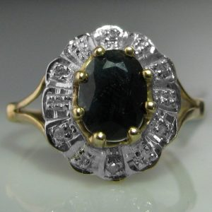 Diamond and Sapphire Ring in 9k Gold