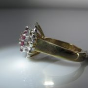 Vintage Ruby and Diamond Cluster Ring, Ruby Ring, Ruby and Diamond Ring